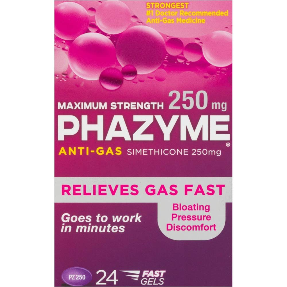 Phazyme Maximum Strength 250 mg Softgels, 24 ea (Pack of 6) by Phazyme