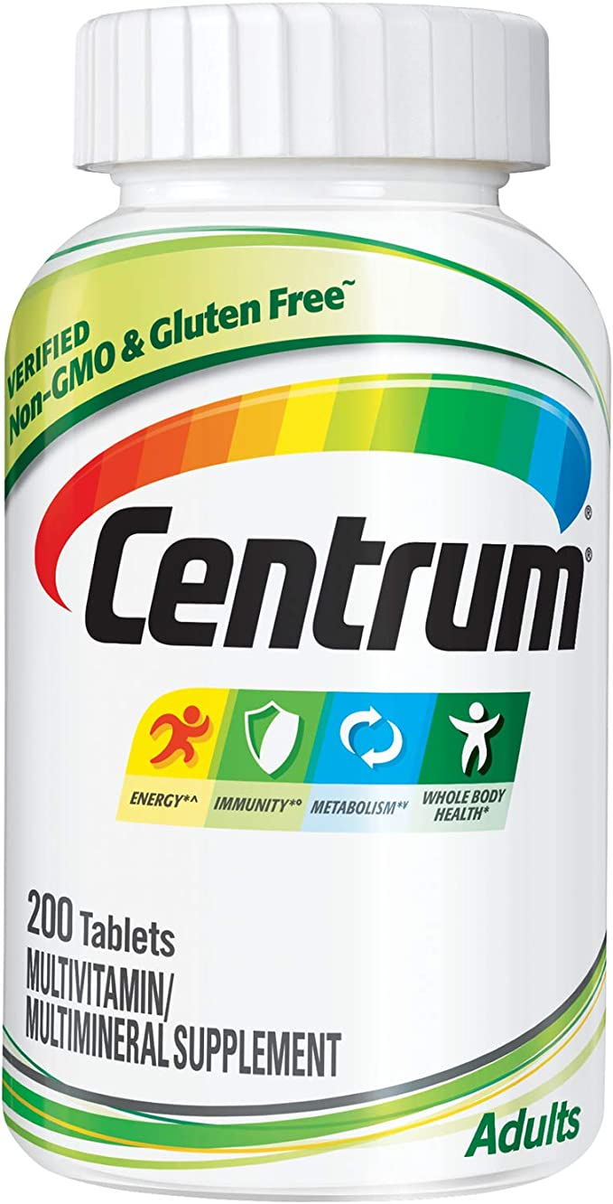 Centrum Adult Multivitamin/Multimineral Supplement with Antioxidants, Zinc and B Vitamins - 200 Count   Amazon