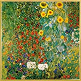 Gustav Klimt Poster Art Print and Frame (Plastic) - Cottage Garden With Sunflowers, 1905-06 (16 x 16 inches)