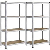 Yaheetech Set van 2 opbergrekken, 160 x 80 x 40 cm, verzinkt kelderrek, 4 planken, reksystemen, 640 kg belastbaar
