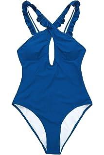 a47a2136e2 CUPSHE Women s Lovely Girl Ruffles Cross Halter Straps One-Piece Swimsuit