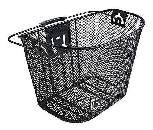 Biria bicycle Basket with Bracket Black - Front Quick Release Basket, Removable, Wire Mesh Bicycle basket