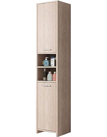 f87c6c1db0d5 Dripex Bathroom Tall Cabinet Tallboy Cupboard Storage Unit Shelves Wood  Floor Standing Furniture