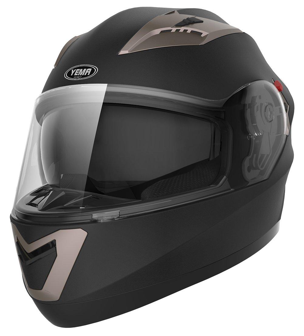 YEMA Casco Moto Integral ECE Homologado YM-829 Casco de Moto Scooter para Mujer Hombre Adultos con Doble Visera Blanco-XL