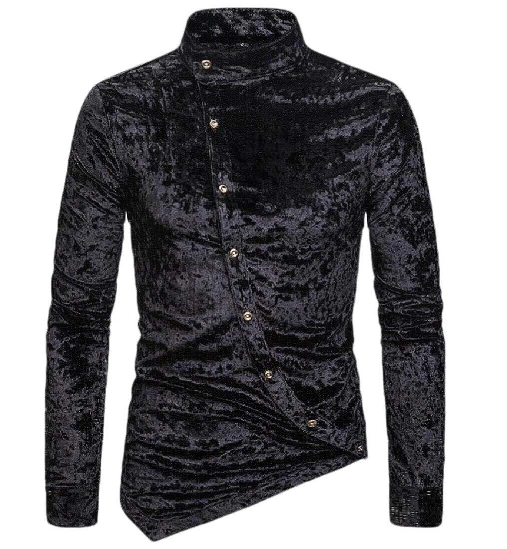 Beloved Mens Regular Fit Long Sleeve Velvet Irregular Prom Button Down Shirt