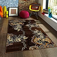 FLORAL ABSTRACT MODERN CONTEMPORARY FLOWER PATTERN DESIGN AREA RUG CARPET CHOCOLATE BROWN BLACK GOLD AND BEIGE (8 Feet X 10 Feet)