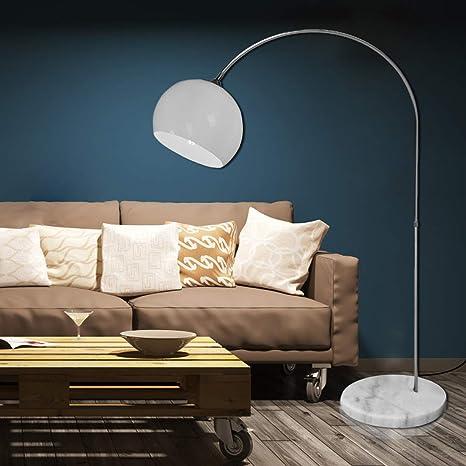 CCLIFE Lámpara de pie Lamparas Mármol con interruptor de cable y pie,bombilla E27 de máximo 60w, Color:Blanco