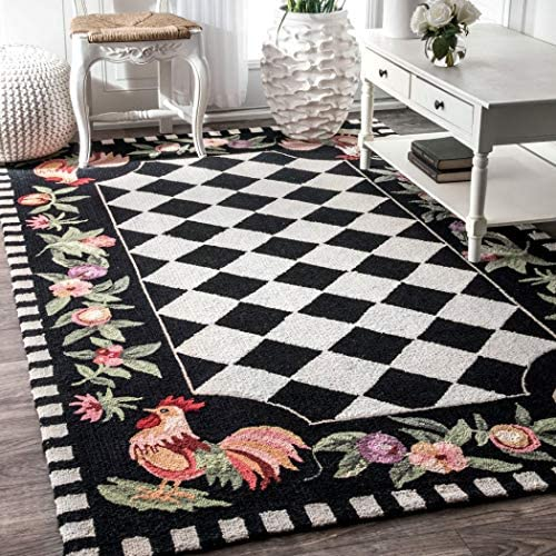 3'6″x5'6″ Black Red Lime Green Rooster Chicken Flowers Checkered Chessboard Printed Area Rug