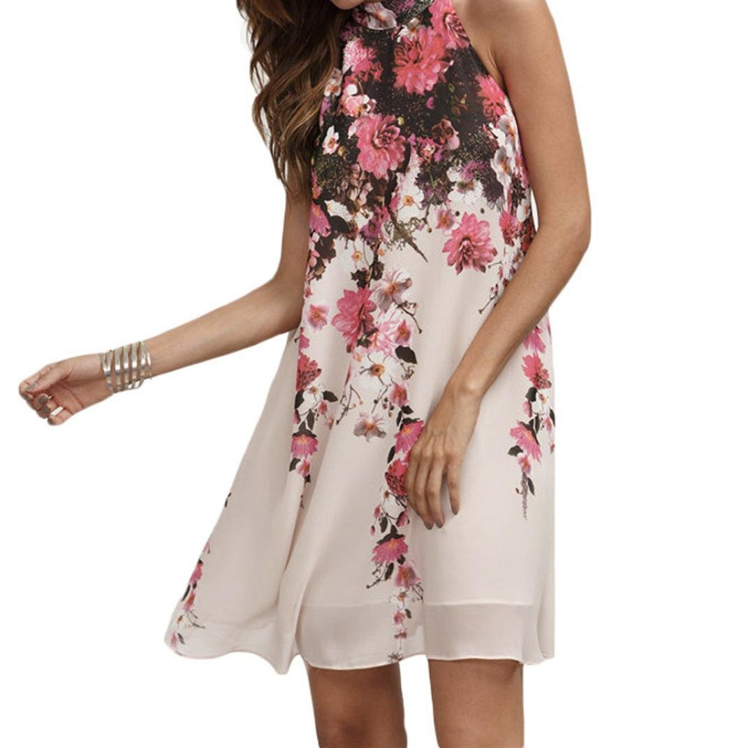 Sommerkleider Damen VENMO Frauen Chiffon Blumen Rundhals Ausschnitt Ärmelloses Kleid