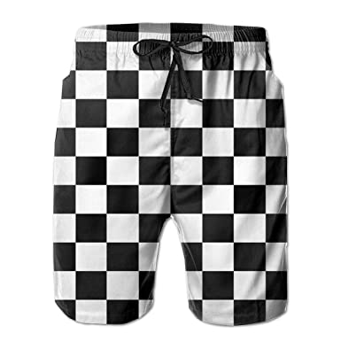 7b6b9fdaf8 Tyugvvo Checkerboard Funny Swim Trunks Quick Dry Beachwear Sports Running Swim  Board Shorts Mesh Lining White