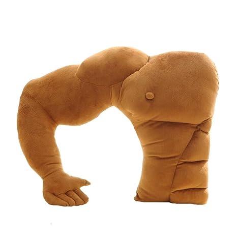 Almohada Missley con forma de brazo con músculos, cálido abrazo de novio, cojín en color marrón