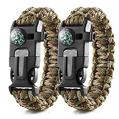 EKIND Survival Paracord Bracelets | Emergency Outdoor Paracord Survival Bracelet with Multi Tool | Flint Fire Starter, Whistle, Compass Emergency Knife & Rescue Rope | Pack of 2 by EKIND