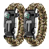 EKIND Survival Paracord Bracelets | Emergency Outdoor Paracord Survival Bracelet with Multi Tool | Flint Fire Starter, Whistle, Compass Emergency Knife & Rescue Rope | Pack of 2