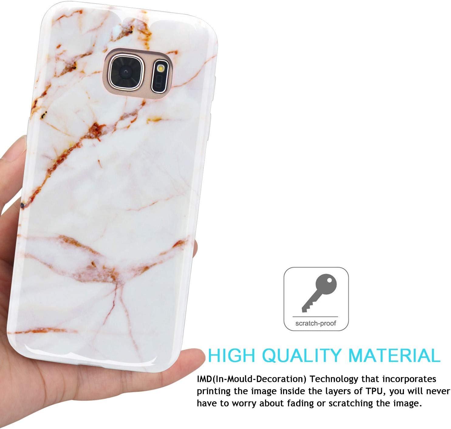 Marmor Black White JAHOLAN Galaxy S7 H/ülle Handyh/ülle TPU Silikon Weiche Schlank Schutzh/ülle Handytasche Flexibel Case Handy H/ülle f/ür Samsung Galaxy S7