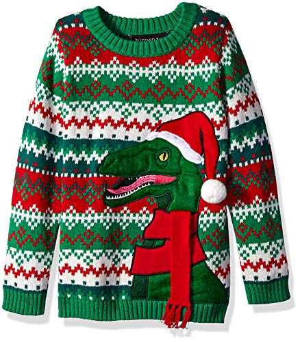 Blizzard Bay Boys' Big Ugly Christmas Raptor with Santa Hat Sweater, Green Combo, M 12/14]()