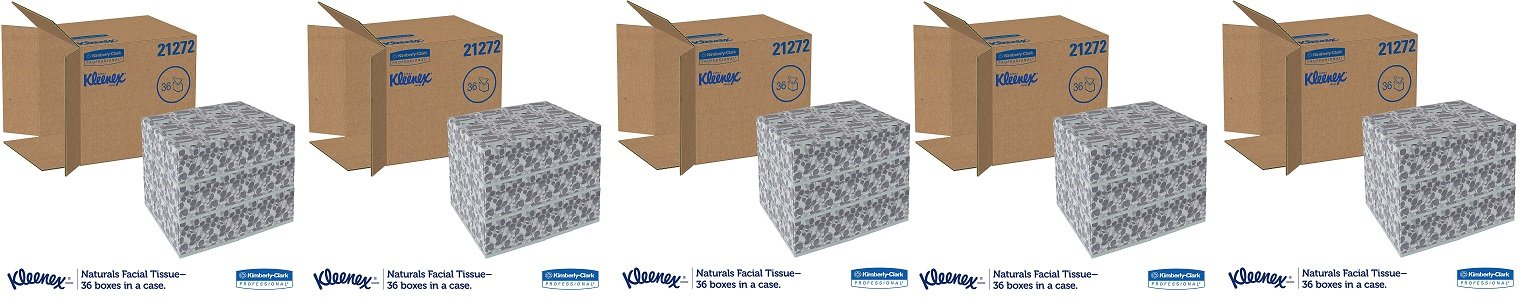 Kleenex 21272 Naturals Facial Tissue, 2-Ply, White, 95 Per Box (5 CASES) by Kimberly-Clark Professional