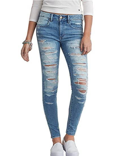 eb1113cea5f Cresay Women's Juniors High Waisted Distressed Skinny Jeans Pants at ...