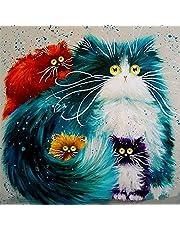Fuumuui Lienzo de Bricolaje Regalo de Pintura al óleo para Adultos niños Pintura por número Kits Decoraciones para el hogar-Los Gatos 16 * 20 Pulgadas