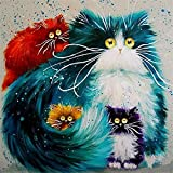 Golden Maple DIY Pre-Printed Canvas Oil Painting Gift for Adults Kids Paint by Number Kits Home Decorations- Cats 16*20 inch