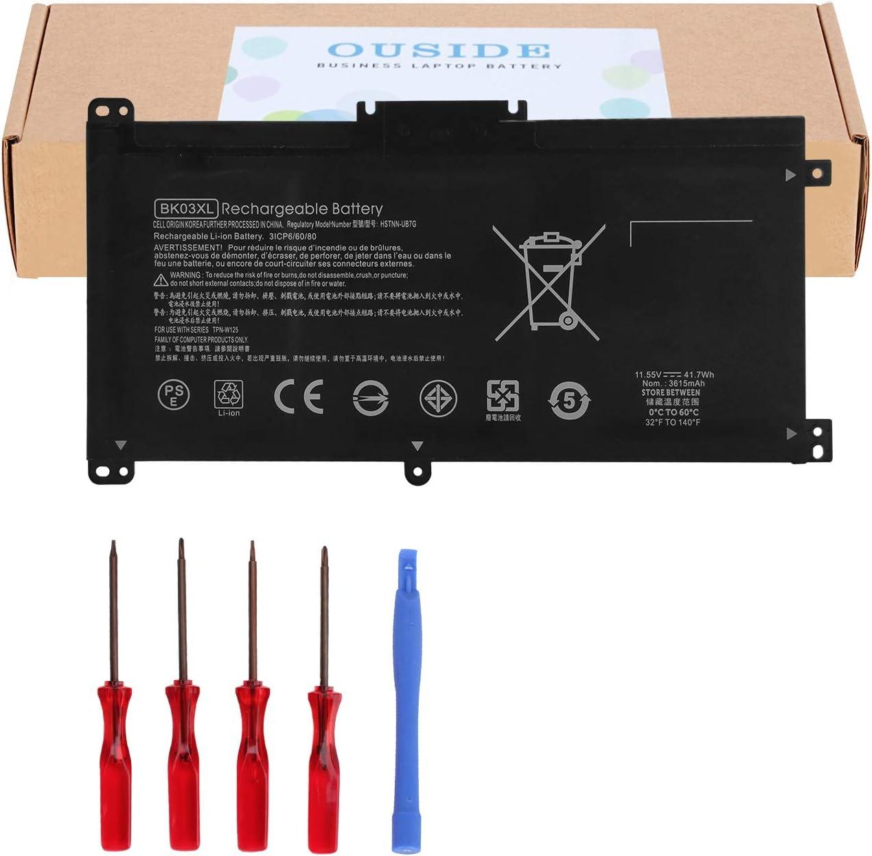 OUSIDE New BK03XL HSTNN-LB7S Laptop Battery Compatible with HP Pavilion x360 Converitble 14m 14m-ba013dx 14m-ba011dx 14m-ba014dx 14m-ba114dx 14-ba000 14-ba175nr 14-ba110nr Notebook [11.55V 41.7Wh]