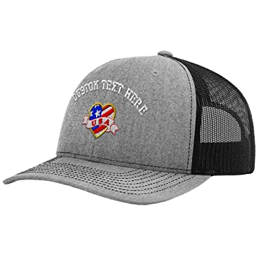 bd3e3f9cb3d Custom Text Embroidered U.S.A Tattoo Heart Unisex Adult Snaps Polyester  Richardson Structured Front Mesh Back Adjustable