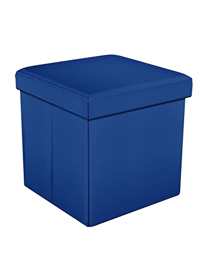Story@Home Folding Collapsible Ottoman Foot Rest Stool for Home Living Room, Drawing Room, Balcony, Bedroom Decor Cloth Sundries Storage Organizer Cum Box - PVC Leather, Sapphire Blue