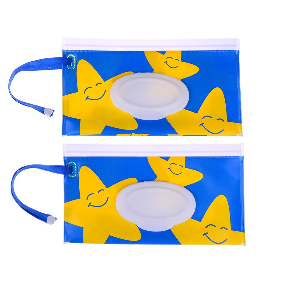 Poluka 2 Pcs Yellow Star Wet Wipes Pouch Reusable Wet Wipes Bags Eco-Friendly Baby Wet Wipe Cartoon Portable Travel Cases Easy-Carry Snap-Strap Wipes Container Discussz