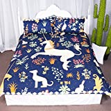 Fantasy Prancing Unicorn Dancing in Flowers Duvet Cover Set 3 Pieces Cute Animals Graphic Design Bedspread Bedding Set (Queen)