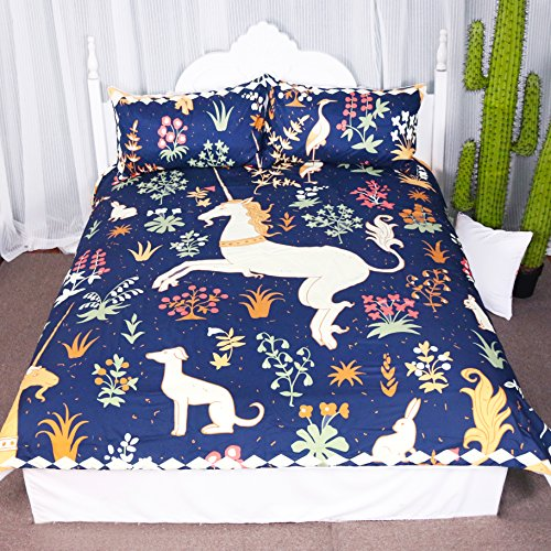 Fantasy Prancing Unicorn Dancing in Flowers Duvet Cover Set 3 Pieces Cute Animals Graphic Design Bedspread Bedding Set (King) -