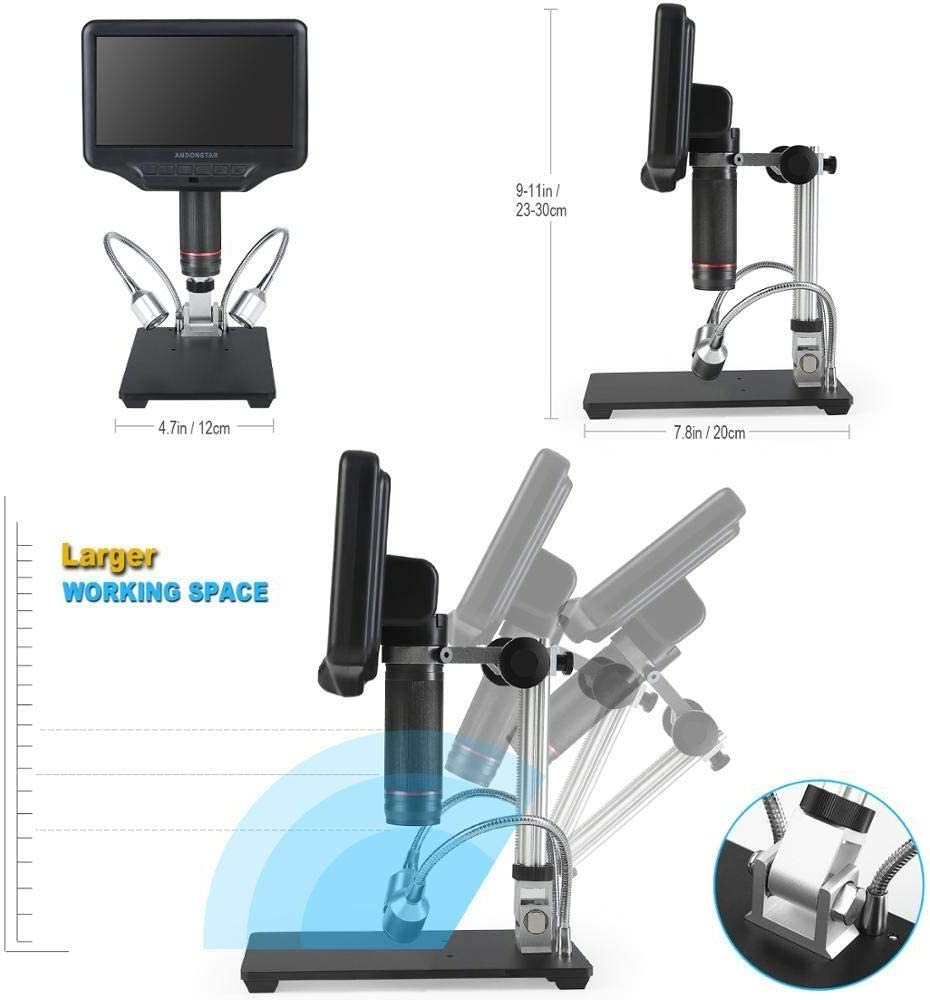 YEZIL Electron Microscope 7 LCD Screen 3D Digital Microscope AD407 Electronic Soldering Microscope for SMD Phone Repair
