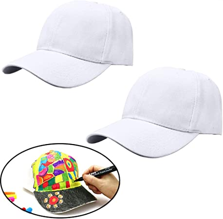 Acewen 2Pcs White Hand-Painted Baseball Cap Adjustable Strap Plain Blank Baseball Hats to Decorate Creative Graffiti Painting Cap Kids DIY Painted Coloring Crafts DIY Party Hat Supplies