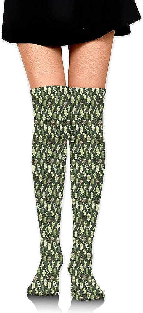 Over Knee High Socks,Eco Themed Woodland Circular and Triangular Tree Pattern,60CM