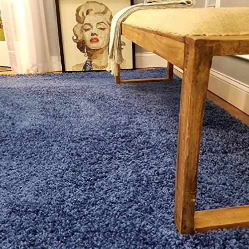 Shag Area Rug 5x7 | Plain Solid Sapphire Blue Shag Rugs for Living Room Bedroom Nursery Kids College Dorm Carpet by European Made MH10 Maxy Home ()