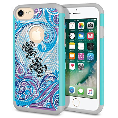 FINCIBO Case Compatible with Apple iPhone 7 2016 / iPhone 8 2017, Dual Layer Football Skin Hybrid Protector Case Cover Anti-Shock TPU for iPhone 7/8 (NOT FIT 7 Plus, 8 Plus) - Turtle with Blue Swirl