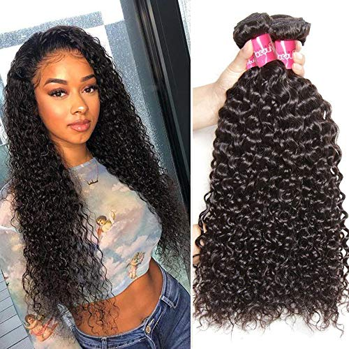 Sunber Hair 10A Grade Brazilian Kinkys Curly Virgin Human Hair 3 Bundles Remy Human Hair Weaves Wet and Wavy Hair Extension Natural Color(18 20 22inch)