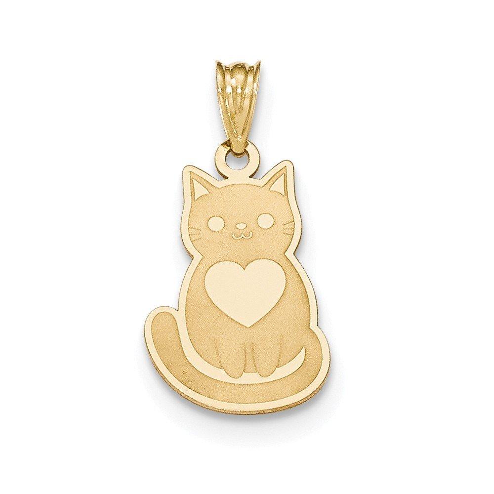 14k Laser Cut Cat with Heart Charm by DiamondJewelryNY
