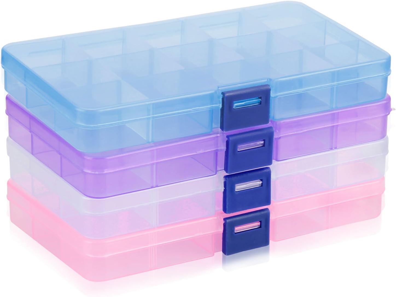 Almacenamiento de Plástico, innislink Ajustable Caja de Joyería Caja de Almacenaje 15 Compartimientos Organizador de Herramientas para Pendientes, Anillos y Otras Mini Mercancía (4 Colores)