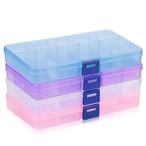 Almacenamiento de Plástico, innislink Ajustable Caja de Joyería Caja de Almacenaje 15 Compartimientos Organizador de