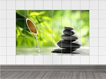 Graz Design 761739_20x25_50 Fliesenaufkleber Fliesen Folie Bad Küche  Fliesensticker Wellness Bambus Entspannung WC Badezimmer Fliesengröße  20x25cm ...
