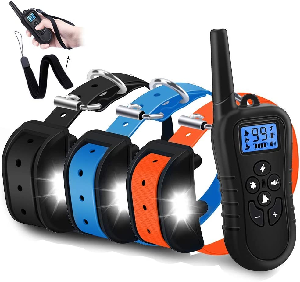 WDFZONE Dog Training Collar for 3 Dogs Waterproof Rechargeable Shock Collar with Remote for 3 Dogs