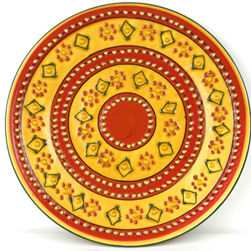 Hand-painted Round Plate in Red - Encantada Pottery