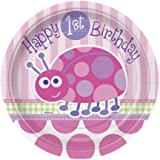 """8 assiettes en carton Coccinelle 1er anniversaire fille """"Happy 1st Birthday"""""""