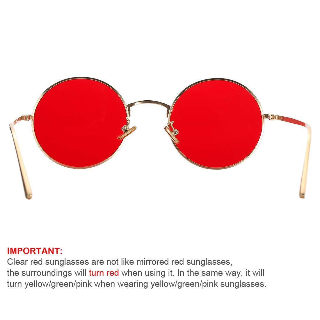 bce18e17208c1 Amazon.com  COASION Vintage Round Metal Sunglasses John Lennon Style Small  Unisex Sun Glasses (Gold Frame Red Lens)  Clothing