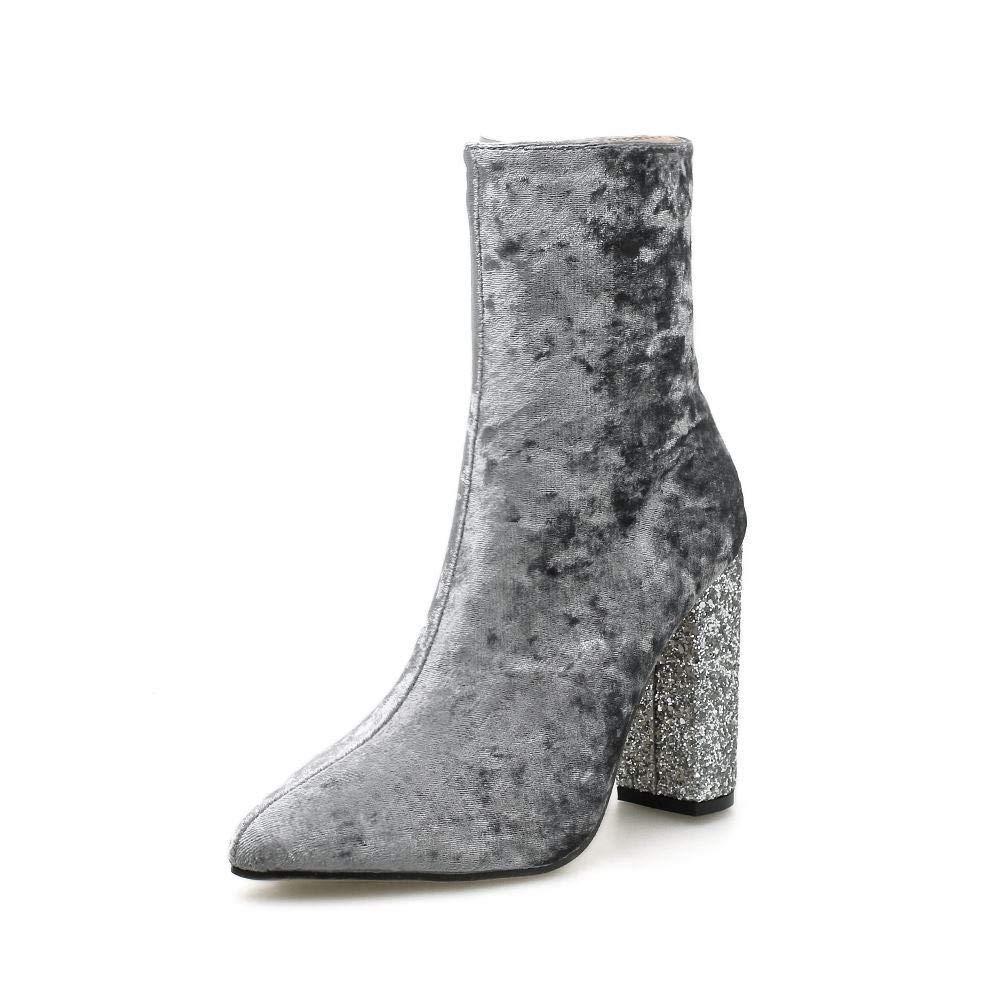 Olprkgdg Damenstiefel mit dicken und glänzenden Samt-Samt-Reißverschlussstiefeln (Farbe   grau Größe   36)