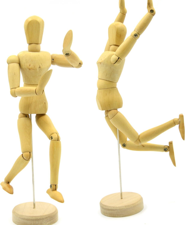 Sweieoni Maniqui Dibujo Modelo articulado 3 Piezas Maniqu/í Humano de Madera Mu/ñeco Masculino Ajustable para como Modelo Dibujar Decoraci/ón de Escritorio