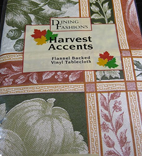 - Harvest Accents Flannel Backed Vinyl Tablecloth Jacquard- Assorted Sizes - Oblong and Round (52 x 70 Oblong)