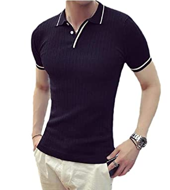 CuteRose Men Basic Style Quick Dry Slim Fit Short Sleeve Polo ...