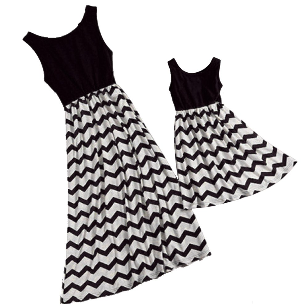 Yoyorule Family Matching Clothes Mommy Me Striped Beach Long Maxi Sundress