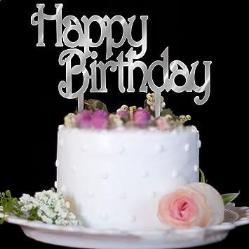Sixteen Acrylic Silver Mirror 16th Birthday Cake Topper