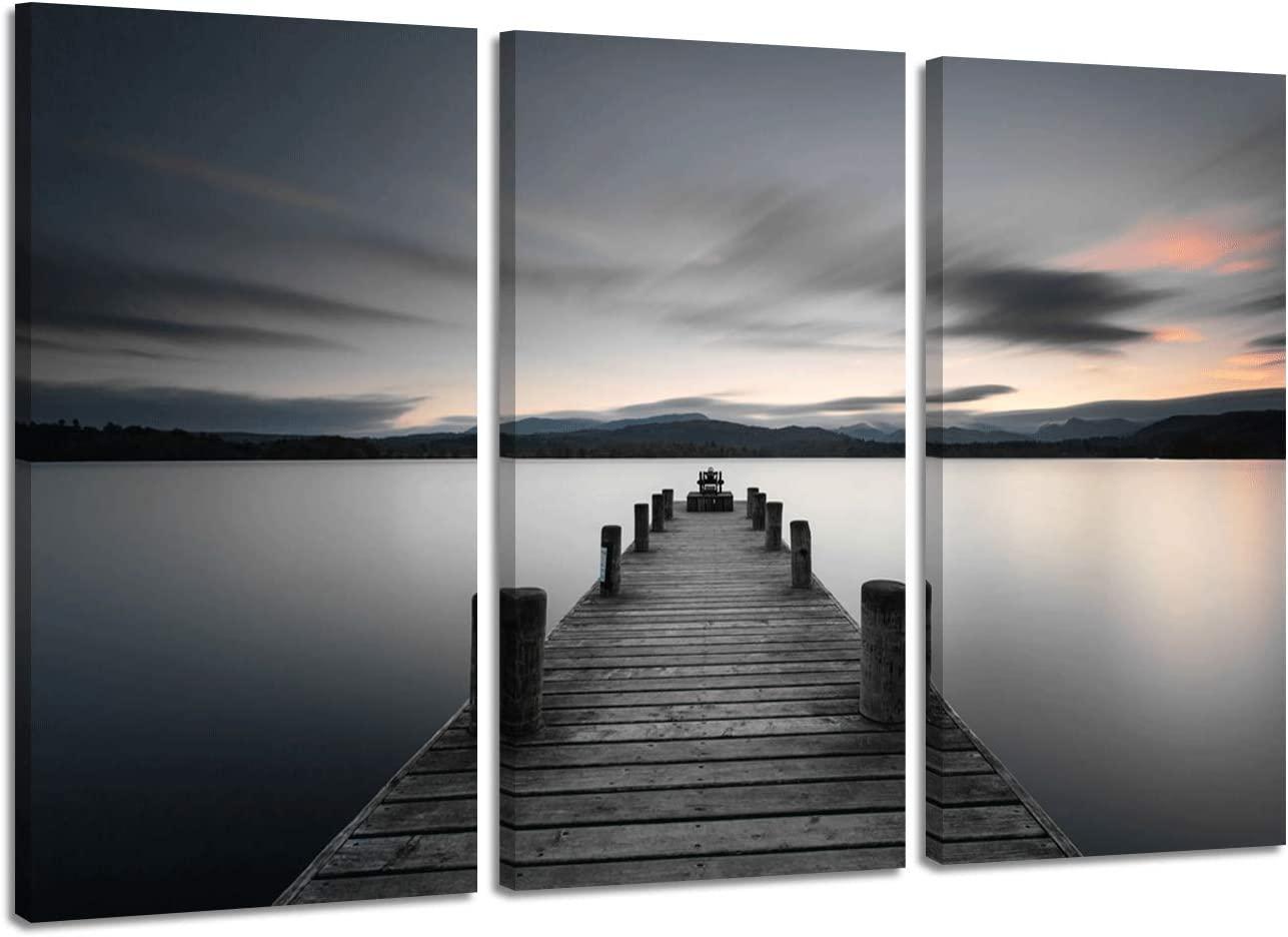 "Lake Pictures Art Wall Decor : Canvas Beach Sunrise in Sea Bridge with Pier Wooden Board/Seashore Boardwalk Photographic Printed for Bedroom,26"" x 16"" x 3 Panels"